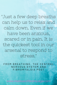 Just a few deep breaths can help us to relax and calm down. Even if we have been anxious, in pain or scared. It is the quickest tool in our arsenal to respond to stress